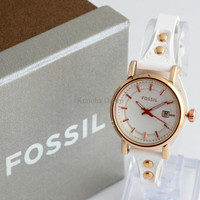 Jam Tangan Wanita / Cewek Fossil Fs030 White Rosegold + Box Exclusive