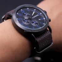 Jam Tangan Pria / Cowok Fossil Fs031 Dark Brown Blue