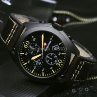 Jam Tangan Pria / Cowok Swiss Army Sa070 Dark Brown Black