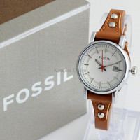 Jam Tangan Wanita / Cewek Fossil Fs030 Brown Silver + Box Exclusive