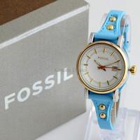 Jam Tangan Wanita / Cewek Fossil Fs030 Blue Gold + Box Exclusive