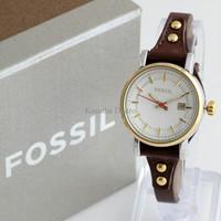 Jam Tangan Wanita / Cewek Fossil Fs030 Dark Brown Gold + Box Exclusive