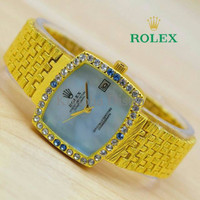 Jam Tangan Wanita / Cewek Rolex R067 Gold Blue