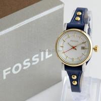 Jam Tangan Wanita / Cewek Fossil Fs030 Navy Blue Gold + Box Exclusive