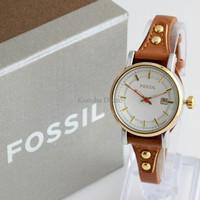 Jam Tangan Wanita / Cewek Fossil Fs030 Brown Gold + Box Exclusive