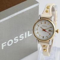 Jam Tangan Wanita / Cewek Fossil Fs030 Cream Gold + Box Exclusive