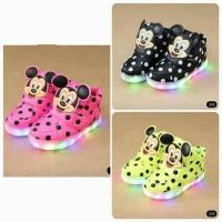 Sepatu Led Polka Mickey Mouse MURAH / Led Shoes Polkadot Mickey OBRAL