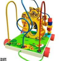 Mainan Kayu Edukatif Alur Kawat 3 Karakter Kucing untuk Anak 3-4 Tahun