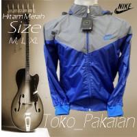 Jaket Parasut Nike abu muda biru Parasit