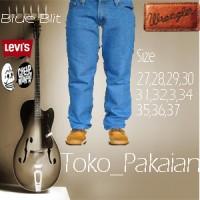 Celana jeans levis light blue Jeans wrangler bioblitz size 28-32