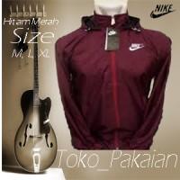 Jaket Parasut Nike Full Maroon Parasit