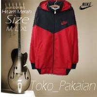 Jaket Parasut Nike Hitam Merah Parasit