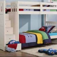 tempat tidur tingkat white duco
