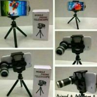 Jual Paket Telezom Mini Tripod Tongsis Lensa Telescope x8 HP Tablet portabl Murah