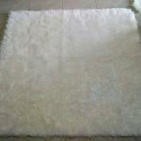 Jual karpet bulu korea putih ukuran 100cmx130cm Murah