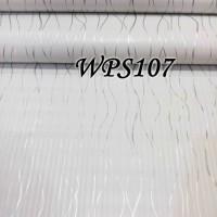 WPS107-WHITE N SILVER RIBBON WALPAPER-DINDING WALL PAPER STIKER