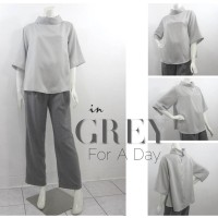 Blouse turtle neck simple stylish satin Simpli Daili In Grey for a Day