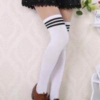 S/11/Bla Kaos kaki stoking stocking japan korea school Strip Black