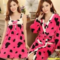 Set cardi dress cow/stelan modern murah/baju tidur polos/import/AL