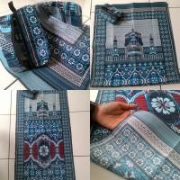 Jual Sajadah Batik Seri Masjid BiruMerah Pouch Sleting Murah
