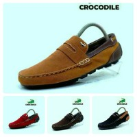 Sepatu Slip On Pria Crocodile Casual Brown Full Suede Sneakers Murah
