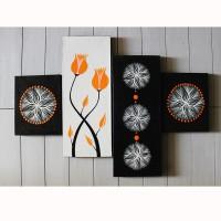 lukisan bunga minimalis orange