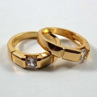 Cincin Xuping Couple / Pasangan Mata Satu Warna Emas 18K Model Terbaru