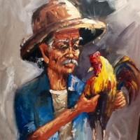 Lukisan Kakek / Orang Tua Pegang / Membawa Ayam Jago model A