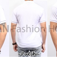 POLO 1 Kaos Kerah Putih Polos Baju Pria Cowok Bahan Lacos Pendek