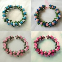 FLOWER CROWN /Mahkota bunga : BUNGA KUNCUP PINK : Gabriell accessories