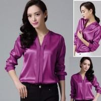 FG - [Blouse Yuzuki Fanta SW] blouse wanita saten velvet pink fanta SP