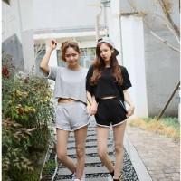 FG - [ Setelan Twins SW] pakaian wanita setelan warna abu-abu dan hita