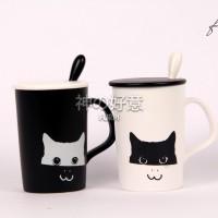 harga Mug Gelas Kopi Cat Kucing Monochrome Tokopedia.com