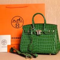 Tas Hermes Birkin 25 Croco Alligator HIJAU MUDA Semi Premium H102B