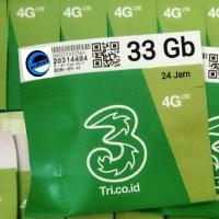 Jual kartu perdana internet 3 tri three aon 33gb 3gb + 30gb 4G LTE 3 gb Murah