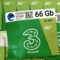 kartu perdana internet 3 tri three aon 66gb 6gb + 60gb 4G LTE 6 gb 24J