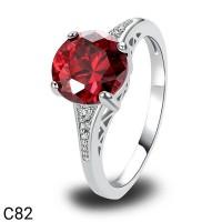Cincin Perak Silver 925 Lapis Emas Batu Cubic Zircon AAA Ruby Red C82