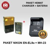 PAKET BATERAI NIKON EN-EL9a + CHARGER MH-23