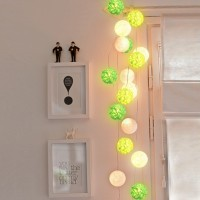 Jual Cotton Ball Light Green Tone LED Baterai / LED Colokan / Tumblr Lamp Murah
