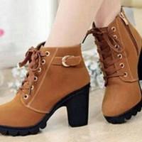 Jual Sepatu Wanita | HEEL BOOT COBOY TAN | Boots Coboy | Sepatu Wanita Murah