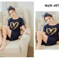 Baju Tidur Setelan Pendek Piyama Kaos Wanita Cewek - Korean M Style
