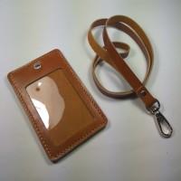 Jual ID card holder kulit asli warna tan gantungan id card   tali id card Murah