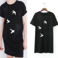 Casual Mini Dress Tumblr Hitam Motif Burung Putih Import Murah
