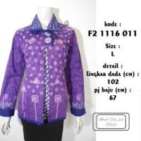 blus batik tulis asli f21116011 / atasan kerja belah muslim ungu L