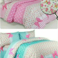Jual Bed cover set katun Shabby Calista pink/tosca size 160x200/180x200 Murah