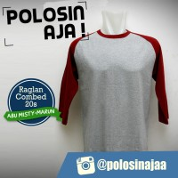 Kaos Raglan Polos Lengan 3/4 Warna Abu Misty-Merah Marun Ukuran M