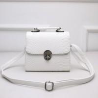 tas putih kulit croco ular tebal wanita selempang import simple elegan