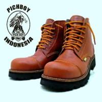 sepatu pichboy underground 7 hole safety boots tan kulit asli