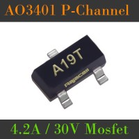 AO3401 A19T Mosfet P-Channel 4.2A 30V SMD SOT-23 FET