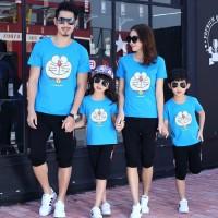 DORAEMON 2 anak Family couple cp fm keluarga kaos dora biru